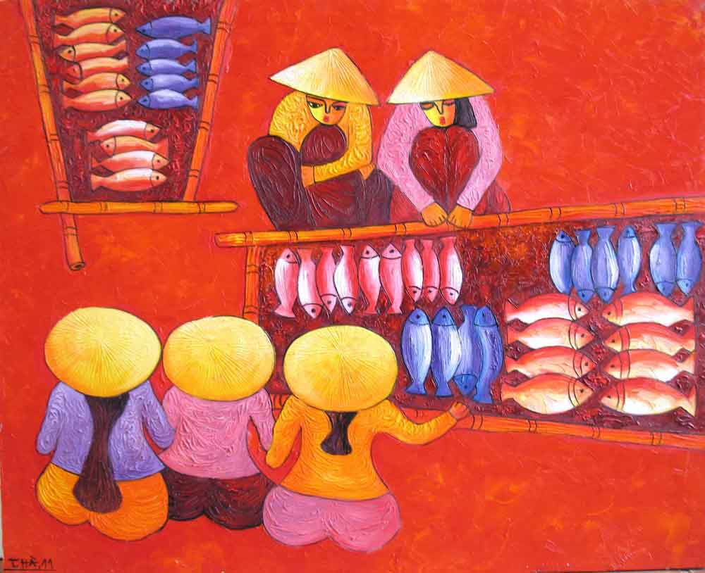 (ID.-12)--Title.-Fishery-market-2,-Size.-81x100cm,-Price.
