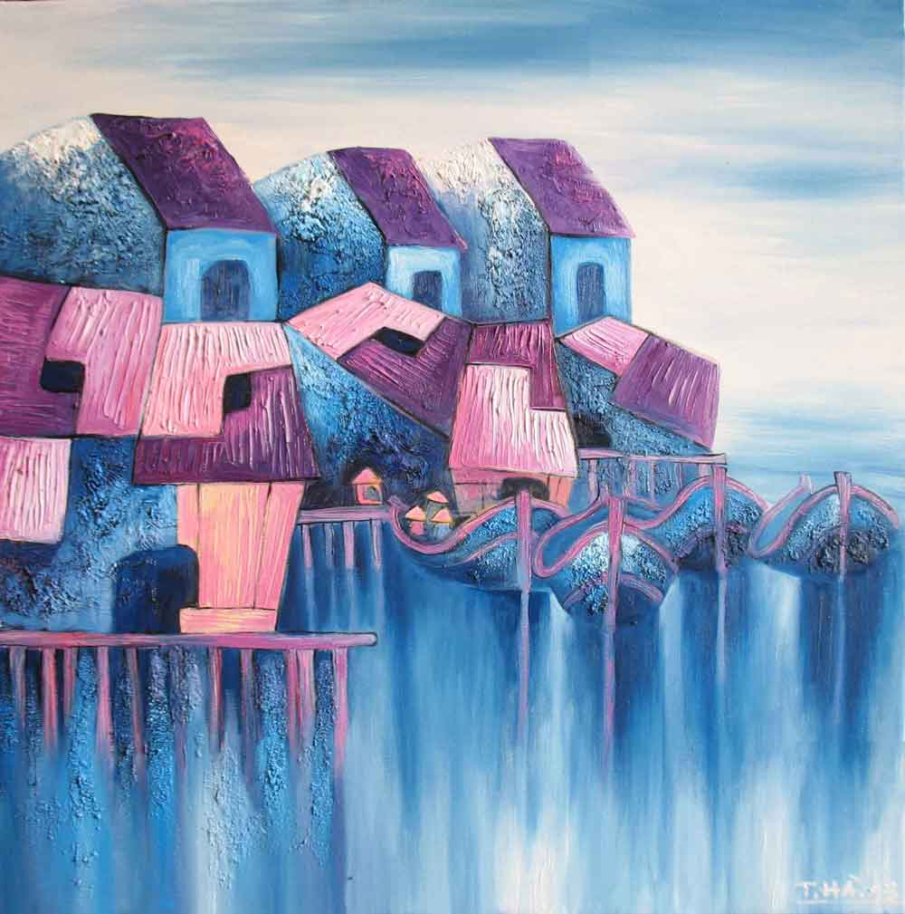 (ID.-53)--Title.-Houses-on-Nha-Trang-river,-Size.-80x80cm,-Price.